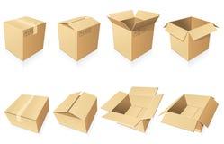 Scatole di cartone in bianco Fotografia Stock