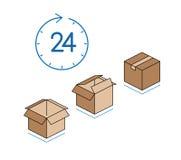 Scatole di cartone con l'orologio su fondo bianco Fotografia Stock Libera da Diritti