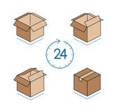Scatole di cartone con l'orologio su fondo bianco Fotografia Stock