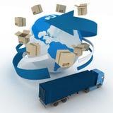 scatole di cartone 3d intorno al globo ed al camion Fotografia Stock