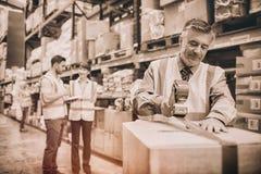 Scatole di cartone di sigillamento del lavoratore del magazzino per spedire immagine stock libera da diritti