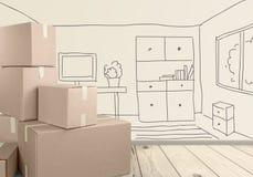 Scatole di cartone differenti nella sala sul pavimento di legno Fotografia Stock Libera da Diritti