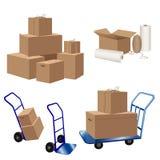 Scatole di cartone e carretti dei bagagli, cordicella, involucro di allungamento e nastro scozzese illustrazione di stock