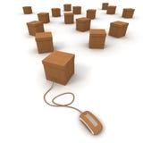 Scatole di cartone e collegamento di Internet Immagine Stock