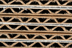 Scatole di cartone ondulate impilate a macroistruzione Fotografie Stock