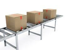 Scatole di cartone sul nastro trasportatore illustrazione di stock