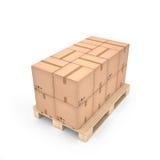 Scatole di cartone sul pallet di legno & su x28; 3d illustration& x29; Immagini Stock