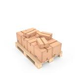 Scatole di cartone sul pallet di legno & su x28; 3d illustration& x29; Fotografia Stock