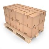 Scatole di cartone sul pallet di legno & su x28; 3d illustration& x29; Fotografie Stock