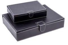 Scatole di cuoio nere Immagini Stock