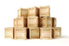 scatole di legno 3d Fotografie Stock