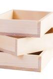Scatole di legno isolate Immagini Stock
