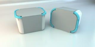 Scatole di plastica in bianco Fotografie Stock Libere da Diritti