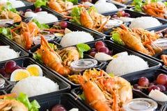 Scatole di pranzo tailandesi dei frutti di mare di stile Immagini Stock Libere da Diritti