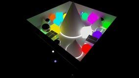 Scatole e caduta delle sfere nell'ambito di capacità rappresentazione 3d illustrazione vettoriale