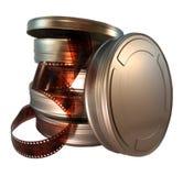 Scatole metalliche della pellicola immagini stock