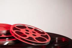 Bobina di film con il film - spazio per testo immagini stock