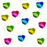 Scatole multicolori con i regali Priorità bassa festiva Fotografie Stock Libere da Diritti