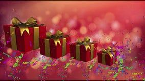 Scatole rosse di festa con i nastri dell'oro royalty illustrazione gratis