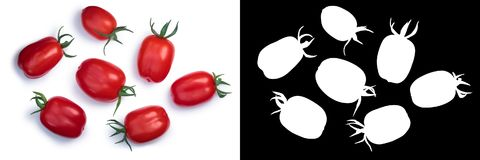 Scatolone plum tomatoes, top, paths. Scatolone plum tomatoes with sepals, fresh. Top view, clipping path, shadows separated Stock Photo