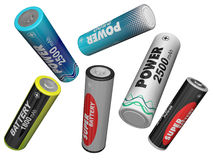 Scatter in different directions AA batteries Royalty Free Stock Images