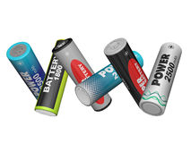 Scatter in different directions AA batteries Stock Photography