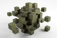 scatter för kuber 3d i olika riktningar Abstrakt begrepp reflekterad obj Royaltyfri Fotografi