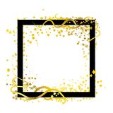 Scatter frame stars golden theme with spiral curve whip lines ab royalty free illustration