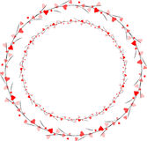 Scatter heart brush. Along circular shape with branches Stock Images