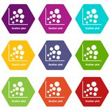 Scatter plot icons set 9 vector. Scatter plot icons 9 set coloful isolated on white for web Royalty Free Stock Photo