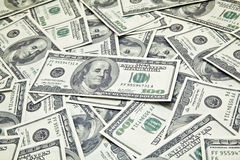 Scattered 100 American Dollars Royalty Free Stock Photography