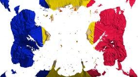 Scattered Andorra flag. White background, 3d rendering vector illustration