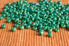 The scattered beads of green color Stock Photo