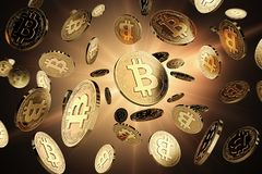 Scattered Bitcoin Cash coins on a lighted background. Success and growth concept. Perfect for covers, posters, banners and other advertising projects. 3D Stock Photography