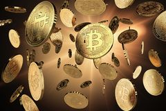 Scattered Bitcoins on a lighted background. Success and growth. Concept. Perfect for covers, posters, banners and other advertising projects. 3D rendering Stock Images