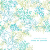 Scattered blue green branches frame corner pattern Royalty Free Stock Image