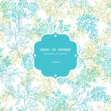 Scattered blue green branches frame seamless pattern background Royalty Free Stock Image