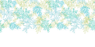 Scattered blue green branches horizontal seamless pattern background Stock Photo