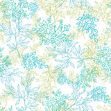 Scattered blue green branches seamless pattern background Royalty Free Stock Images