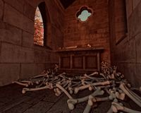 Scattered bones, 3DCG. Old crypt with scattered bones Royalty Free Stock Images