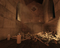 Scattered bones, 3DCG. Old crypt with scattered bones and candles Royalty Free Stock Photography