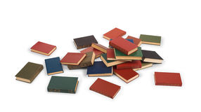 Scattered books on the floor. Isolated on white background stock images