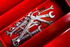 Combination wrench in a red toolbox Royalty Free Stock Photos
