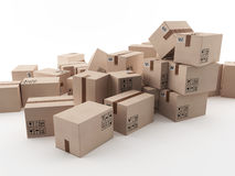 Scattered boxes Royalty Free Stock Photos