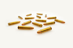 Scattered Bullets Isolated on White Royalty Free Stock Photos