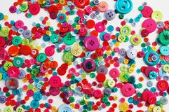 Scattered buttons. In bright colours Stock Photo