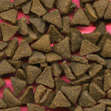 Scattered cat biscuits. Background of scattered triangular cat biscuits royalty free stock photo