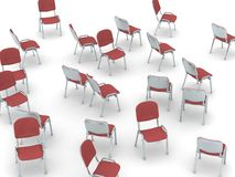 Scattered Chairs. Digital render of red chairs scattered on white ground Royalty Free Stock Image