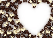 Scattered chocolate candy hearts Royalty Free Stock Photos