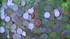 Coins of different states. Scattered coins of different states stock video footage
